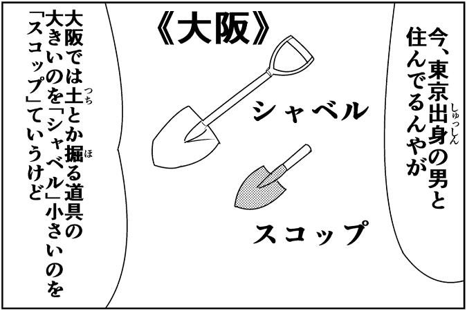 今、東京出身の男と住んでるんやが 大阪では土とか掘る道具の大きいのを「シャベル」小さいのを「スコップ」ていうけど